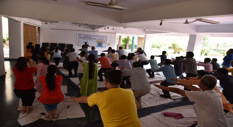 Performing Yoga Aasans during 4th International Day of Yoga 2018.