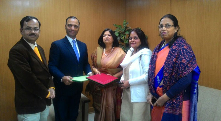During signing of MoU between NIESBUD and DGT. From Left to right: Shri Deepankar Mallick, Deputy Director General, DGT; Shri Vijay Kumar Dev, Additional Secretary and Director General, DGT; Ms Rajni Sekhri Sibal, Additional Secretary and Director General NIESBUD; Dr Poonam Sinha, Joint Director( Administration), NIESBUD and Ms Anita Srivastava, Deputy Director, DGT