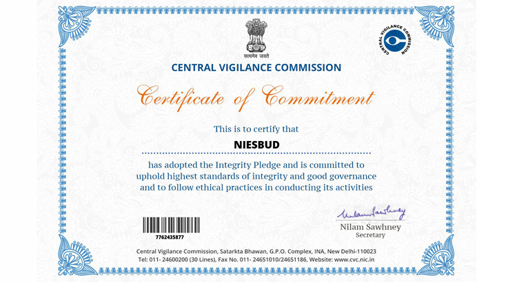 Certificate of Commitment from Central Vigilance Commission