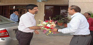 Admininstrator officer welcomes K.Srikkanth at NIESBUD